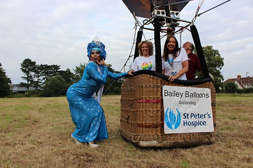 Carmella del Marquis, Jayne Clarke and Louise Turner with the Hospice Balloon